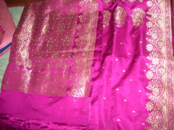 silk saree with crystals and silver brocade
