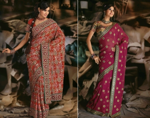 Pure georgette saree with embroidery and Maroon pure georgette saree with floral butis
