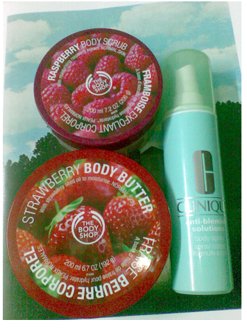Strawberry Body Butter, Raspberry Body Scrub, Clinique Anti-Blemish Body Spray c