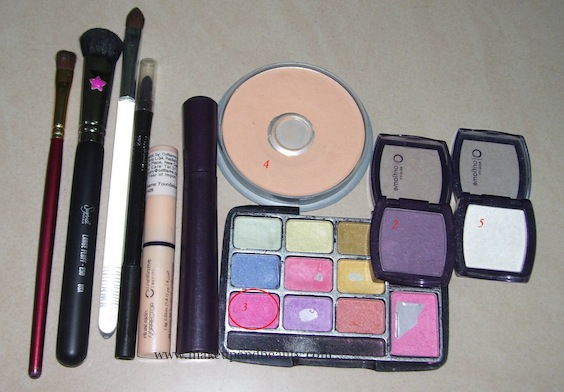 Products used for purple smokey eye