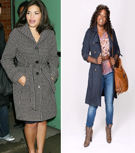 America Ferrera's above the knee length coat and a knee length coat worn front open.