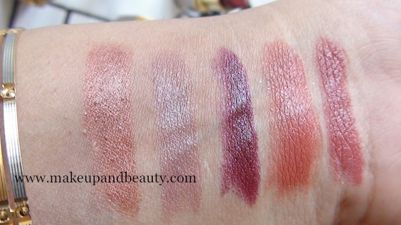 Lotus Herbals Pure Color Lipstick Swatches l-r nutty brown, mod mauve, sheer fuschia, Peach Creme, Pink Blush