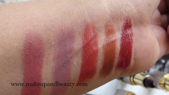 Swatches  l-R Star Glow, Orchid Kiss, lilac Beauty, red Rose, maroon delight