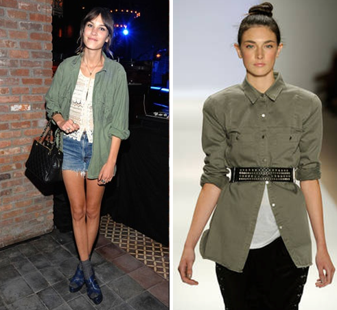 Alexa Chung in a military shirt and a model in layered military shirt