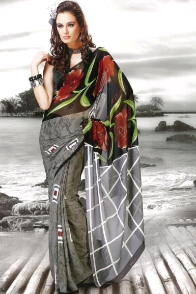 Black and Gray Faux Georgette Casual and Party Printed Saree