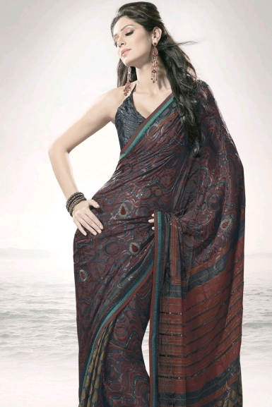 Gray Pure Georgette Party and Festival Embroidered Saree Saree: Sizzling Indian Sarees for Diwali