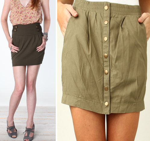 High waisted solid colors military skirts