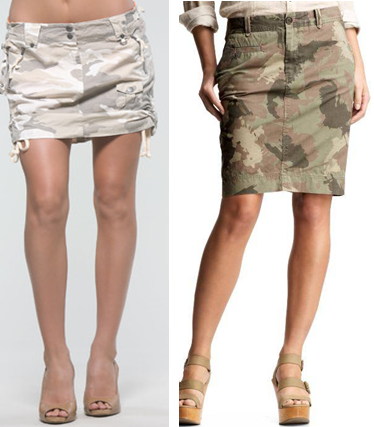 Low waisted camo print military skirts