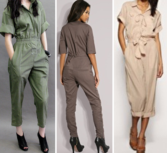 Military jumpsuits in green, brown and beige