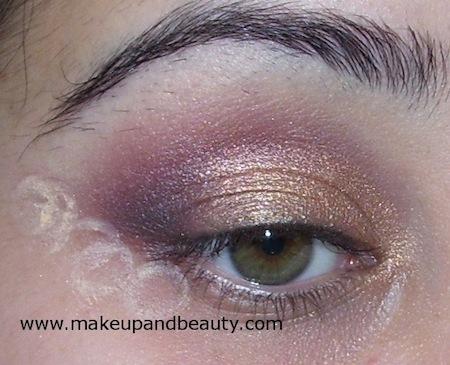 gold and brown eye makeup. Brown eye shadow