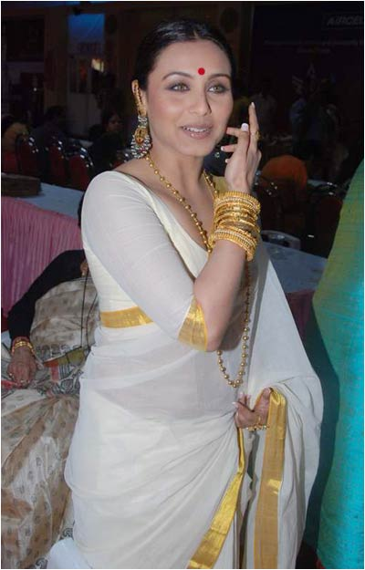 rani mukharjee white saree with gold border