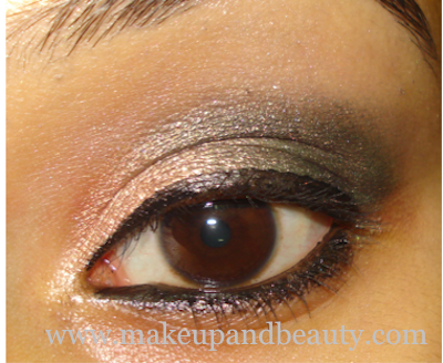 Golden Green Smokey Eye Makeup