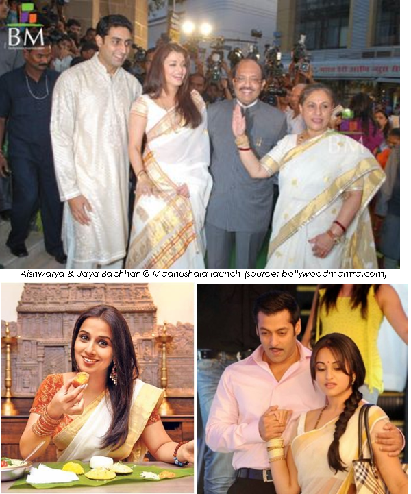 kerala saree on celebrities