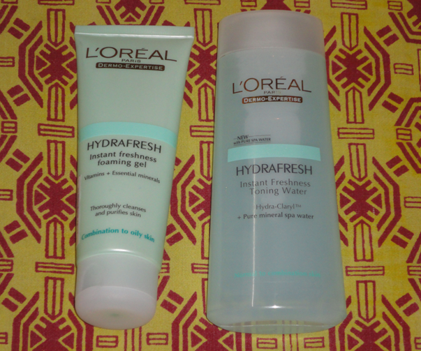 loreal hydrafresh foaming gel and toning water