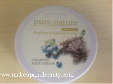 Oriflame's Calming face cream with blueberry and lavender extracts