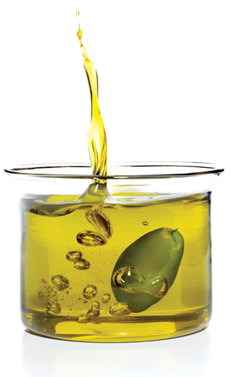 Mixing olive oil with either table salt or granulated sugar can be an