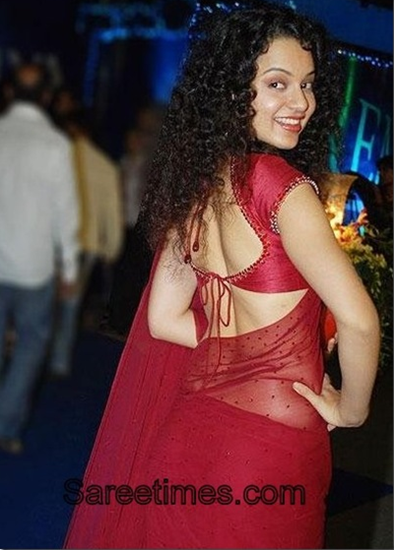 kangana ranaut backless saree