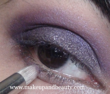 Bourjois baked eyeshadow purple on lower lash line
