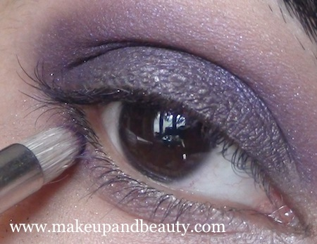 MAC marvel eyeshadow purple on lower lash line