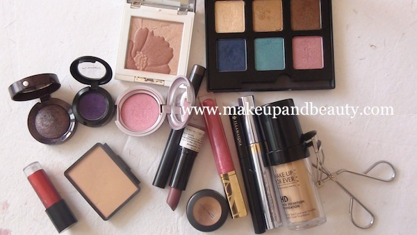 Purple eye makeup - products used