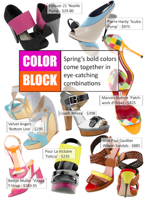 color blocking trend shoes