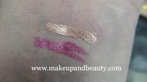 lakme fantasy shimmer liner bronze melt, pink crystal swatch
