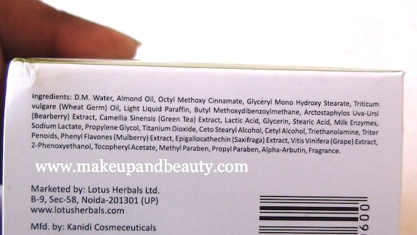 lotus herbals whiteglow gel creme ingredients