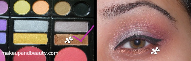 Copper eyeshadow on lower lash line