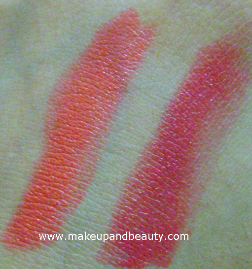 french rose fiery orange swatches