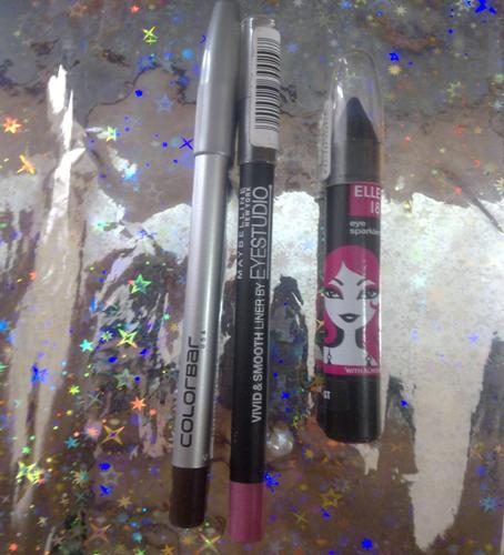 Colorbar I glide Pencil Maybelline Vivid Smooth Eye liner Elle 18 Colorbomb Eye Sparkler