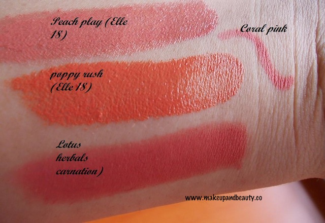 Lotus Herbals Lipstick Carnation, Coral Pink Lip Liner Review