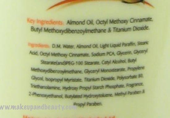 Lotus Herbals almondnourish body lotion ingredients