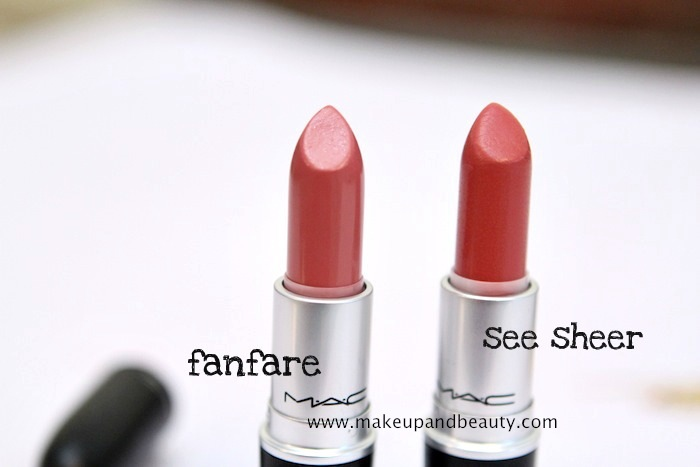 fanfare vs see sheer 1 MAC Fanfare Lipstick Review, Swatch, FOTD