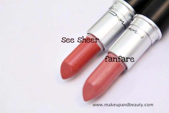 fanfare vs see sheer MAC Fanfare Lipstick Review, Swatch, FOTD