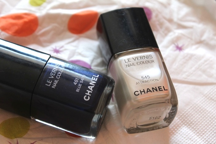 chanel nail polish attraction and blue satin