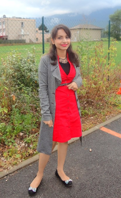 Outfit of the Day Red Dress and Black Flats