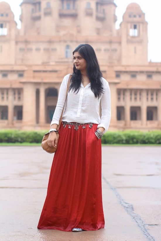 Outfit Of The Day Red Maxi Skirt
