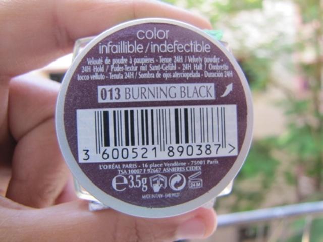 Loreal infallible eyeshadow burning black