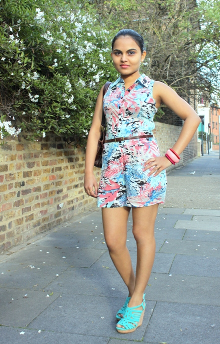 Outfit of the Day Abstract Print Playsuit