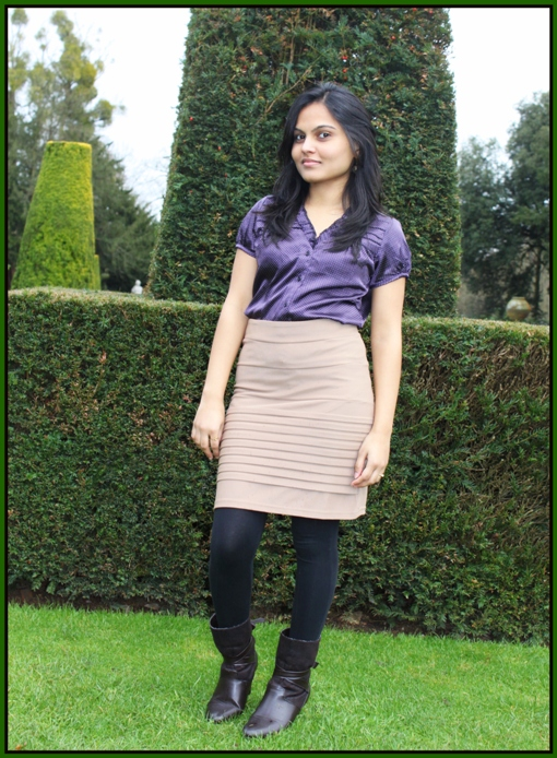 Outfit of the Day Silk Top and Beige Skirt with Trench Coat