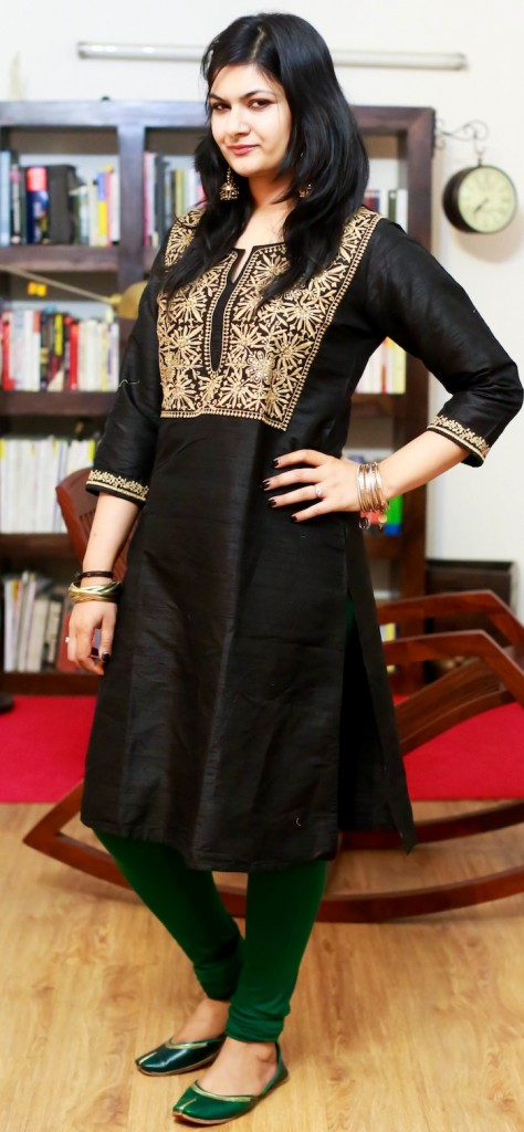 black silk kurta