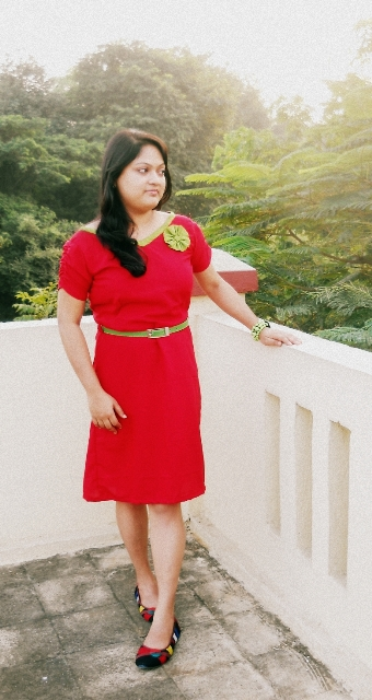 red frock green belt ootd 1