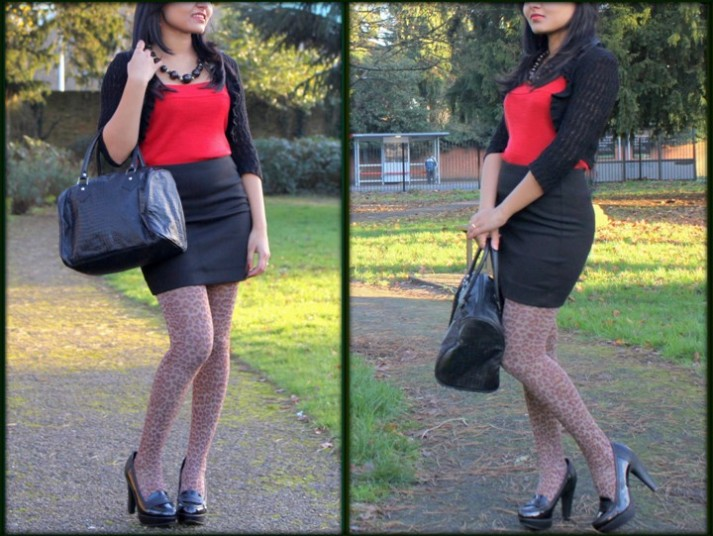Outfit of the Day Black and Red Outfit with Leopard Print Tights