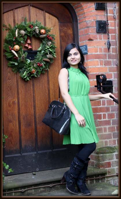 Outfit of the Day Green Pleated Dress and Black Boots