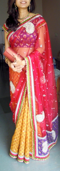 Outfit of the Day Red and Yellow Saree with Bronze Jewellery