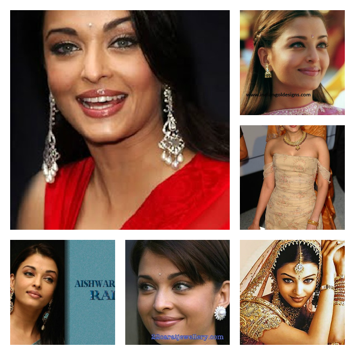 Red Saree Aishwarya Rais Earring Collection