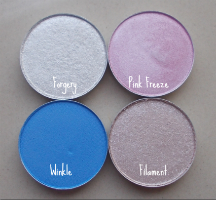 mac eyeshadows winkle pink freeze filament forgery