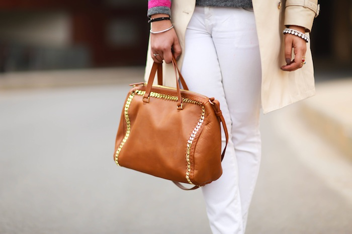 zara tan studded bag