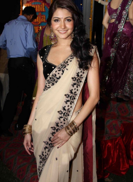 Cream Anushka Sharma in Saree