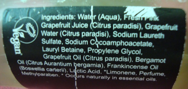 Ingredients Shower Gel